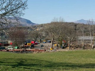 Looking into Minffordd yard with Snowdon in the background