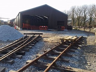 Trackwork leading to the new shed