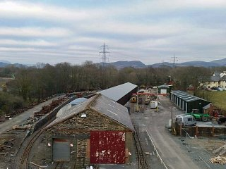 Looking over the original goods shed towards Minffordd station