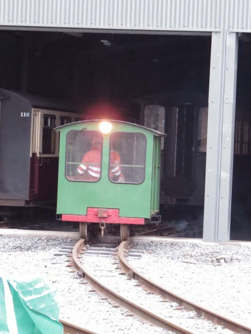 The Wickham Trolley emerges from the new shed at Boston Lodge